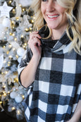 Belle Buffalo Black Plaid Cowl Neck Top