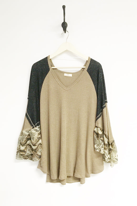 Snakeskin Ruffle Sleeve Top