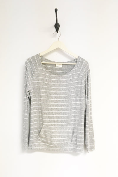 Cozy Grey/White Stripe Raw Hem Top