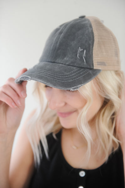 CC Criss Cross Distressed Pony Cap