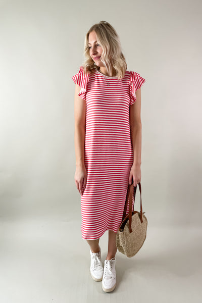 Carolina Ruffle Sleeve Stripe Midi Dress