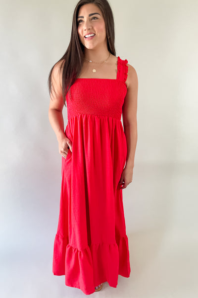 Cherry Red Smocked Maxi Dress