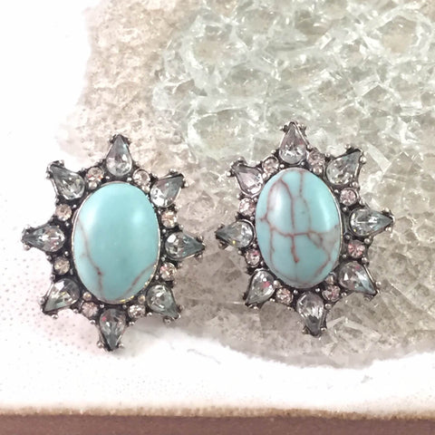 Crystal Edge Turquoise Oval Earrings