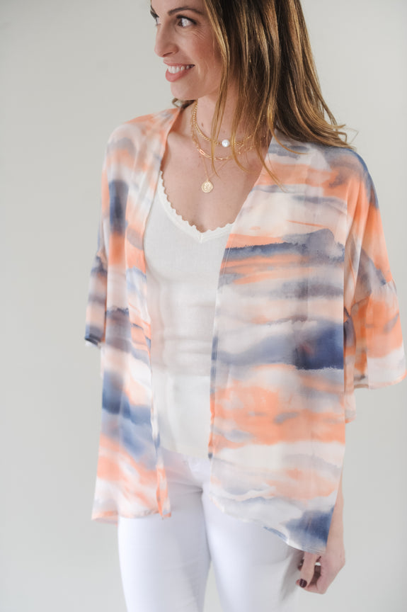 Soft Waves Watercolor Kimono