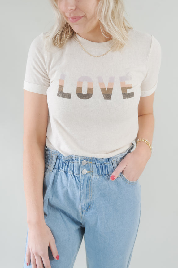 LOVE Rollup Sleeve Graphic Tee