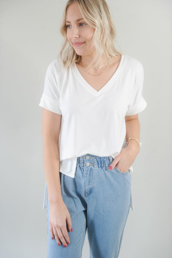 Shelly Rolled Short Sleeve with Side Slit
