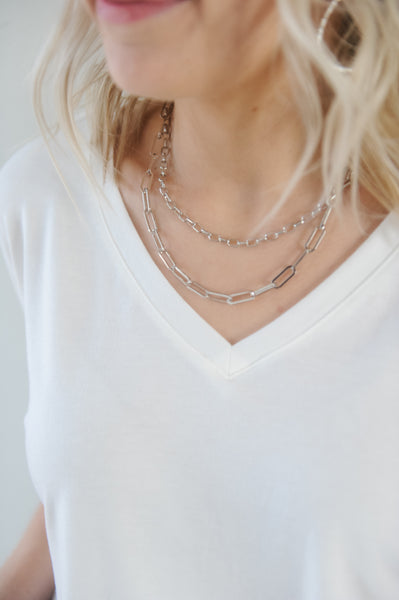 Silver Chain Link Layered Necklace