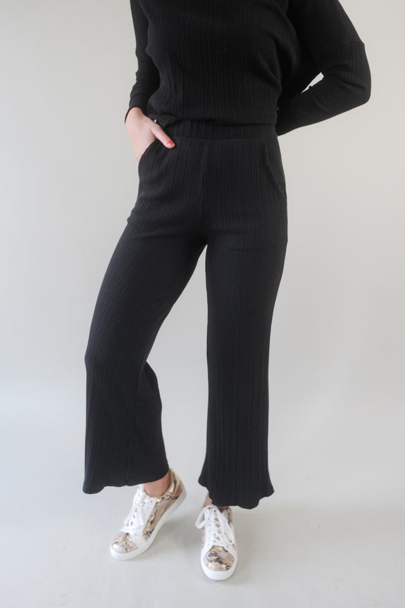 Jessica Ribbed Wide Leg Pant