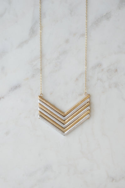 Chevron Layer Pendant Necklace