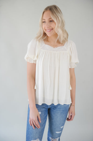 Creme Loose Fit Smocked Sleeve Blouse