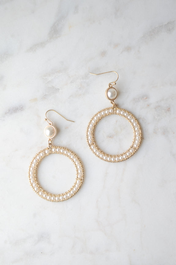 Pearl Hoop Drop Circle Earrings