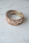 3 Hammered Ring Multi strand Leather Magnetic Bracelet