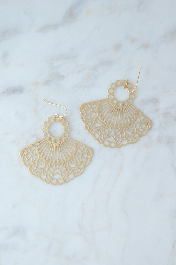 Filigree Gold Fan Earrings