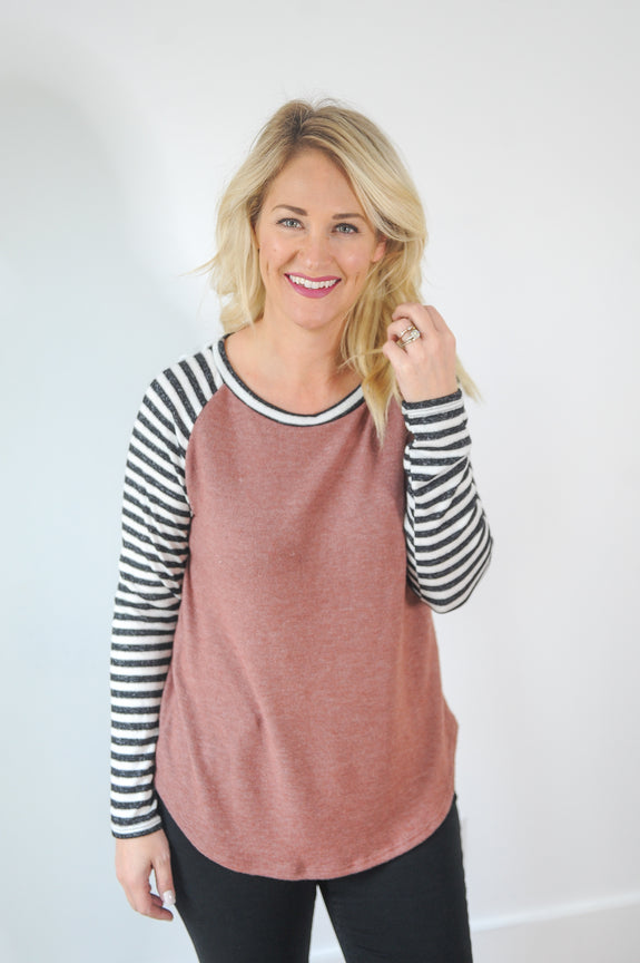 Cozy Cranberry Top with Striped sleeves