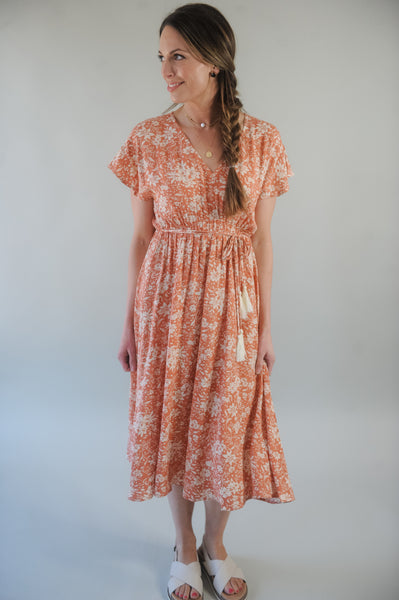 Dusty Peach Kimono Sleeve Floral Tassel Tie Dress