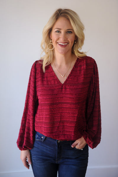 Merry and Bright V-Neck Blouse