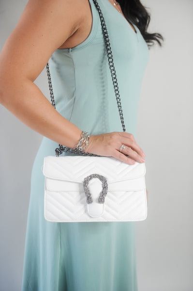 Quilted Handbag with Adjustable Chain Strap