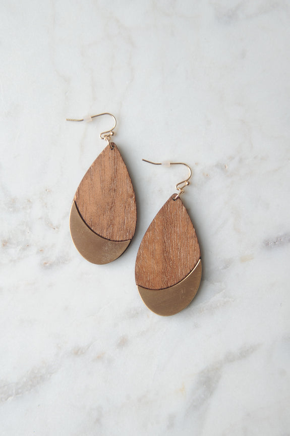 Wood Teardrop with Metal Accent Earring