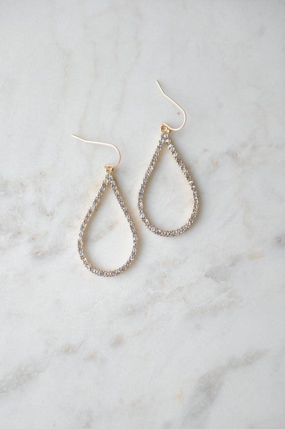 Teardrop Shaped Pave Dangle Earring