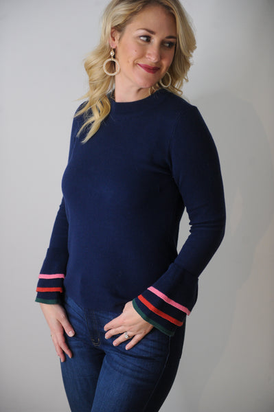 Blair Navy Mock Neck Ruffle Sleeve