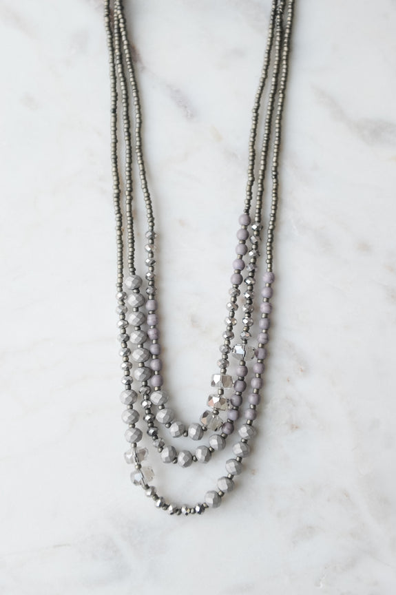 Three Layer Shimmer and Matte mixed bead Necklace
