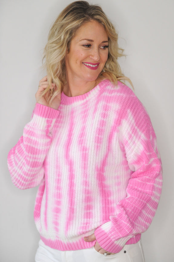 Shay Pink Tie Dye Sweater