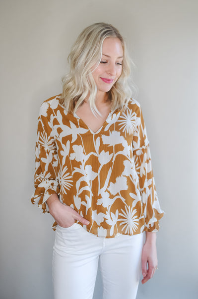 Fiona Camel Printed Blouse