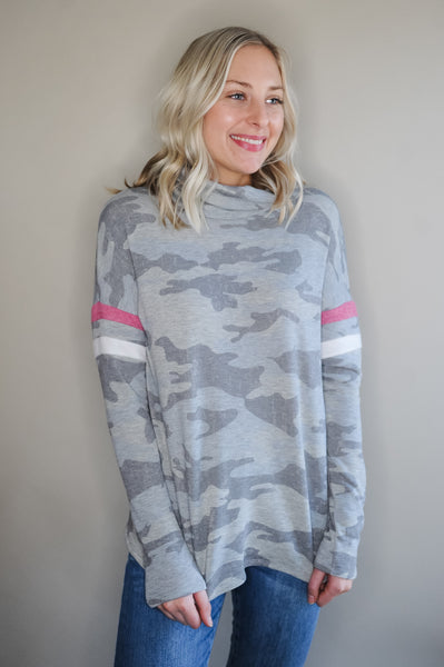 Grey Camo Turtle Neck with Striped Sleeve
