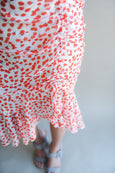 Ruched Wrap Floral Red Dress