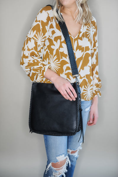 Susie Black Crossbody w/Gold Tone Hardware