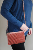 Quilted Velvet Crossbody with Gold Chain Accent