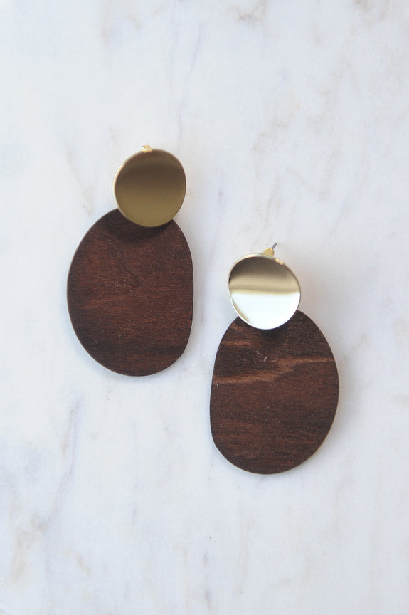 Brown Oval Wood and Gold Disk Earrings