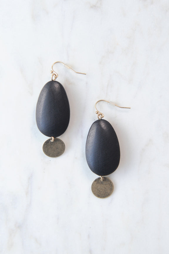 Black Wood Teardrop and Gold Charm Earrings