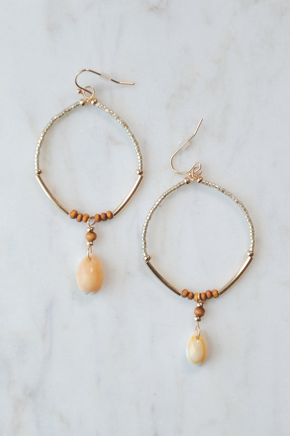 Cowry Shell and Bead Circle Earrings