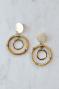 Disk and Bamboo Circle Earrings