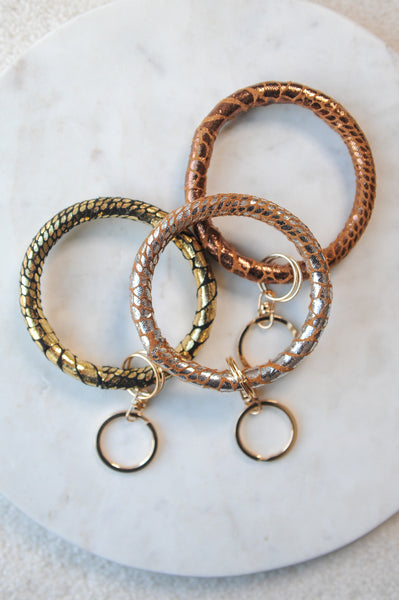 Faux Leather Bracelet Keychain Ring