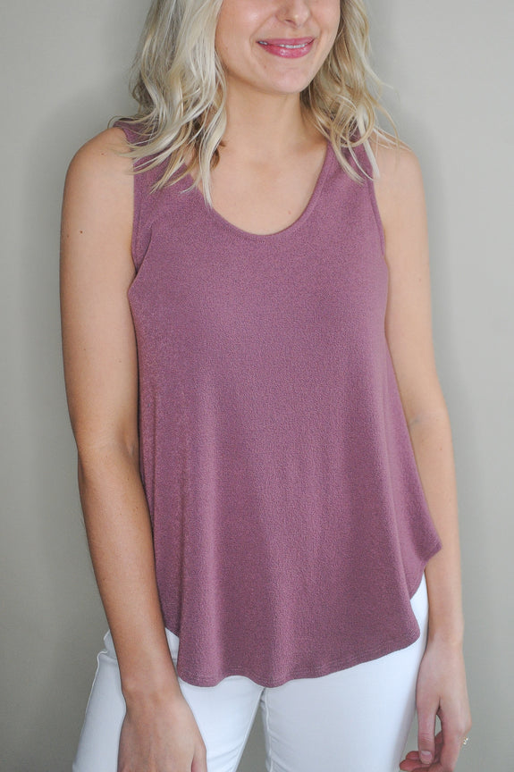 Dark Rose Round Neck Tank