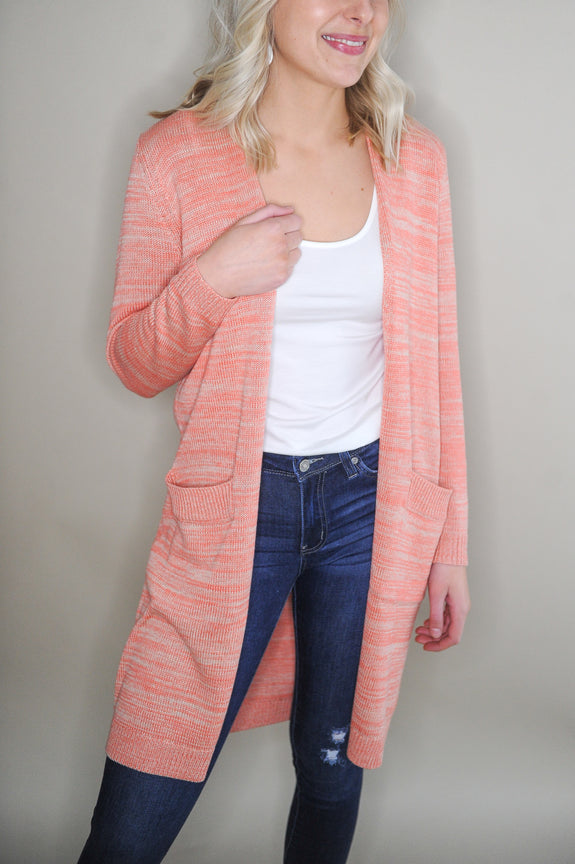 Carrie Coral Long Knit Cardigan
