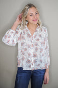 Tilly Ivory Floral Button Blouse