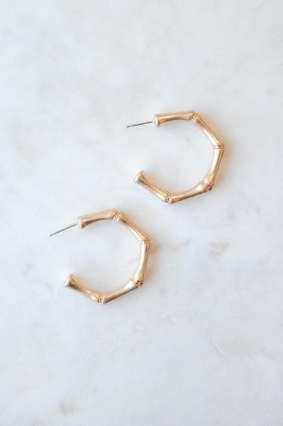 Bamboo Gold Small Metal Post Earrings