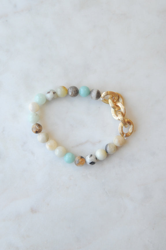 Stone Stretch Bracelet with Accent chain