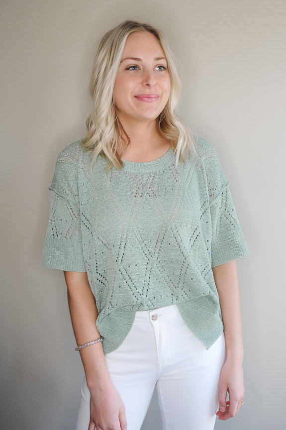 Teresa Spring Green Diamond Pattern Sweater