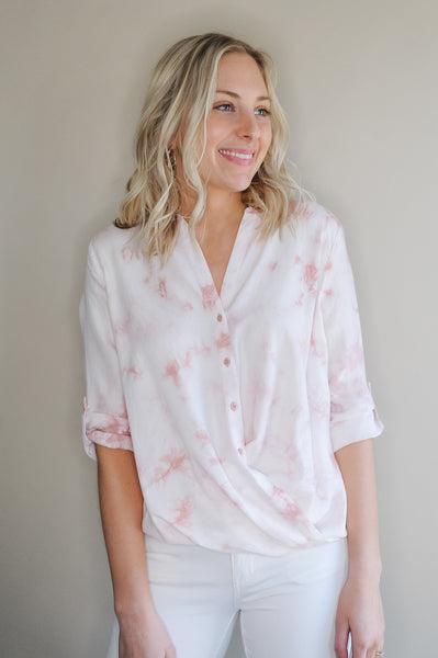 Blush Tie Dye Button Front Blouse