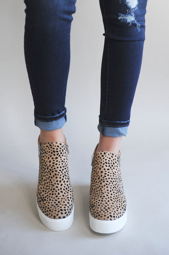 Skylar Mini Wedge Leopard Zip Sneaker