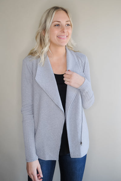 Veronica Grey Zip Up Ribbed Jacket