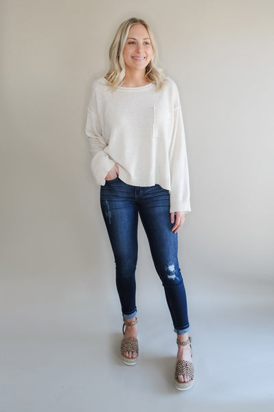 Colby Cream Oversized Pocket Sweater