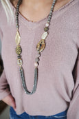 Long Grey Mixed Stone Necklace