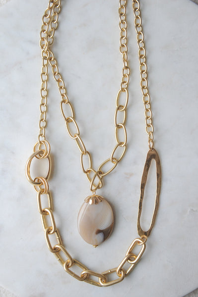 Gold Chain & Stone Pendant Necklace
