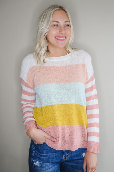 Tinley Lightweight Multi Stripe Sweater