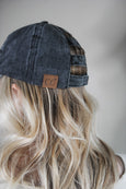 Distressed Denim Canvas Ponytail Cap